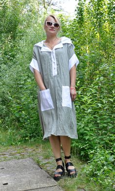 Gray Linen tunic/Hooded loose maxi shirt/Two pockets tunic/Gray and white top/Maxi Plus size tunic/Comfortable and sexi linen  tunic/T0318 by Gabygaclothes on Etsy