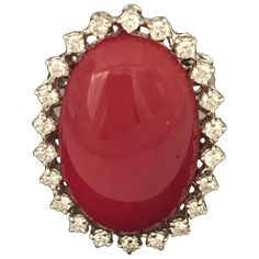 Round Diamond Ring, Gold Diamond Rings, Round Diamonds, Gold Rings, Coral Ring, Coral Jewelry, Oxblood, Cocktail Rings, Jewelry Rings