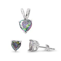 Solitaire Pendant Solitaire Stud Earring Matching Set 2.00CT Heart Mystic Rainbow Fire Topaz 925 Sterling Silver Pendant Earring Set Gift