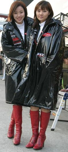 Asian girls in Black PVC Raincoats and red boots