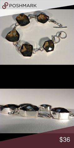 """Smoky Quartz Bracelet Smoky Quartz Bracelet  925 SS Alloy 7 1/2"""" to 8"""" Jewelry Bracelets"""