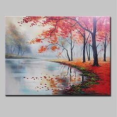 Handgemalte Landschaft Horizontale, moderne Leinwand Hang-Painted Oil Painting Wohnaccessoires … - My CMS Abstract Tree Painting, Oil Painting On Canvas, Watercolor Paintings, Canvas Art, Painted Picture Frames, Picture Wall, Images Murales, Hanging Canvas, Cheap Paintings