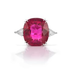 Platinum, Rubellite and Diamond Ring