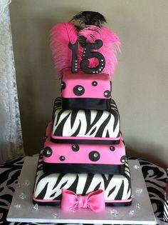 black, white, pink cake