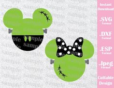 Frankenstein Mickey and Minnie Mouse Ears Disney Halloween Inspired Cutting Dulceros Halloween, Disney Halloween Shirts, Mickey Mouse Halloween, Adornos Halloween, Mickey Y Minnie, Halloween Disfraces, Disney Shirts, Disney Outfits, Holidays Halloween