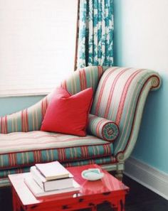 red and teal/light blue rooms