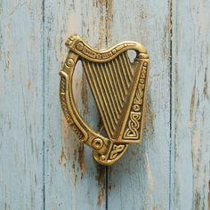 Antique Irish Harp Door Knocker Celtic Brass by KnockPlease