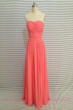 Coral long prom dresschiffon prom wedding dresscoral by Loveand520
