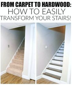 The easiest way to remove carpet and completely transform wood stairs. - www.littlehouseof...