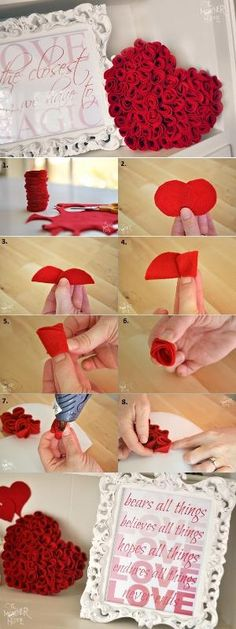 Felt Roses Heart - DIY by AllDayChic