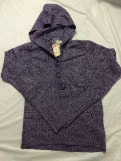 Arizona Women's Purple Gem Marled 3 Button Long Sleeve Hooded Sweater Size XL #Arizona #Hooded