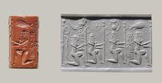 Cylinder seal with kneeling nude heroes, ca. 2220–2159 B.C.; Akkadian Mesopotamia Red jasper