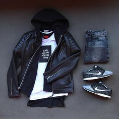 Outfit grid - Leather jacket & jeans