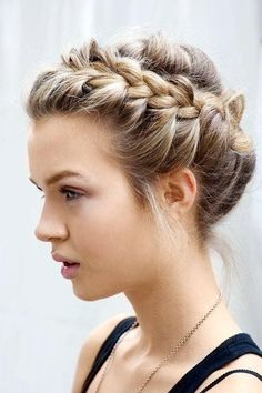 Messy halo braid updo hairstyle