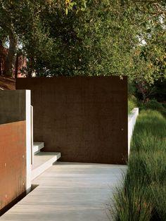 Corten Steel entry Walls, Peninsula Residence, Hillsborough, CA: Andrea Cochran L.Arch