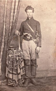 CDV of William Harvey Crago [1843-1919] in his Civil War uniform. Private and bugler in the Ringgold Battalion and 22nd Pennsylvania Cavalry. Not sure why he has infantry hat brass.