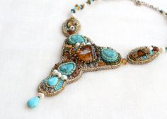 Bead embroidery Beadwork necklace, Natural Baltic amber turquoise necklace, freshwater pearls, blue brown orange necklace, one of the kind Orange Necklace, Amber Necklace, Beaded Necklace, Beaded Bracelets, Turquoise Gemstone, Turquoise Necklace, Baltic Amber Jewelry, Pink Earrings, Black Faux Leather