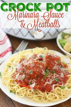 Crock Pot Marinara sauce with homemade meatballs is the ultimate comfort food. I could eat this every single day - so good!
