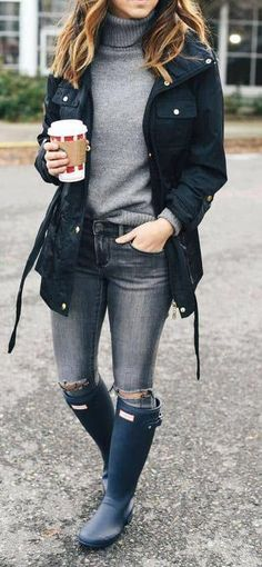 50 Fabulous Fall Outfits to Wear Now Vol. 3 / 13 50 Fabulous Fall Outfits to Wear Now Casual Winter Outfits, Fall Outfits, Cute Outfits, Outfit Winter, Rainy Outfit, Summer Outfits, Rainy Day Outfit For Fall, Black Outfits, Winter Wear