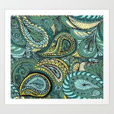 Meadow Paisley Art Print by melanie j cook -