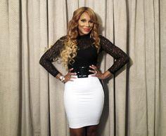 Tamar Braxton - lace top, white skirt