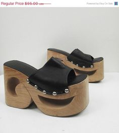 SALE 1990s Wooden Platform Shoes / 90s Club Kid by FemaleHysteria, $80.75