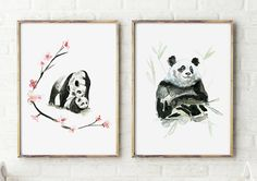 Panda Art Panda bear watercolor Painting set of 2 by ZenInks