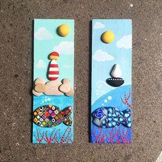 #paintedstones #paintedrocks #paintings #paintedwood #sea #boat #lighthouse #fish #fimo #stones #quadretto #art #artist #loda #madeinloda