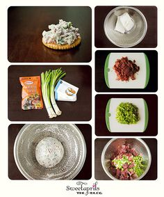 Easy Cheese Ball:  All you need is a bag of dried beef (or ham....pretty much whatever you like), 1 bunch of green onions (or 2-optional) and 2- 8 oz packages of cream cheese (soften). Chop the Dried beef and green onions. Mix it with the cheese. Form a ball and refrigerate for a few hours 2-4. Serve the ball in the middle of a large plate with crackers all around the ball and you are done!
