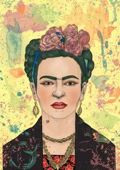 Illustration. Frida Kahlo. Pencil on paper + digital painting. A3 size.