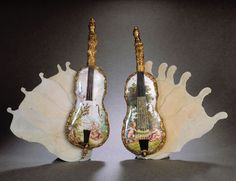 Delicate 18th century violin-shaped dance card, made of Dresden china & ivory.  A gold pencil was hidden in the body of the violin. (in museum collection at Musée Cognacq-Jay in Paris Cognacq-Jay)  [2nd of two pins]