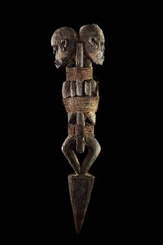 Africa | Fon vodun sculpture, Benin | Wood, rope, feathers, clay, sacrificial patina  | Collection Anne and Jacques Kerchache