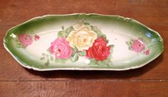 Antique Roses Celery Dish by pluckd on Etsy, $16.00