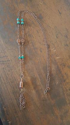 Turquoise Lantern Tassel Necklace