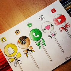Social Media Cake Pops By _ Arts-help Found this cute d . - Entwurf Social Media C Cool Art Drawings, Amazing Drawings, Art Drawings Sketches, Pencil Drawings, Cute Disney Drawings, Kawaii Drawings, Social Media Art, Disney Art, Doodle Art