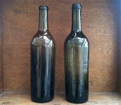 Antique English Olive Green Glass Bottles by EnglishShop on Etsy, $125.00