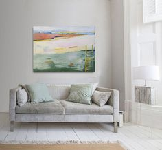 Abstract painting blue green and yellow modern by INKAARTSHOP