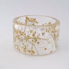 White Baby's Breath Botanical Resin Bangle.  Chunky Bangle with Pressed Flowers.  Real Flowers - White Baby's Breath on Etsy, $49.00