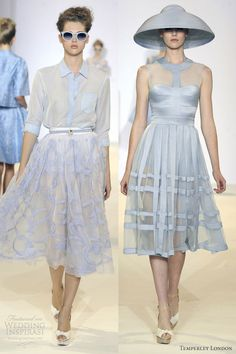 temperley london spring 2013 ready to wear light blue below knee skirt