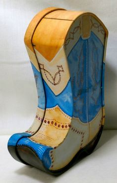 """Tin Trinket Box Cowboy Boot 7-1/4"""" Tall Multi-Color Pictorial Inside Bears"""