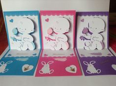 bébés modele kirigami , cartes en 3 couleurs