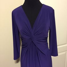 NWOT Jones New York Stunning Purple Dress size 6 This dress is absolutely beautiful in person. It is made to hit about mid calf. It is a lightweight dress so even though it is long sleeve, you could still wear it any time of year! In warmer months, with a pair of sandals and in colder months, a pair of tights and cute shoes! If this fit me I would keep it! Came from a friend! Jones New York Dresses
