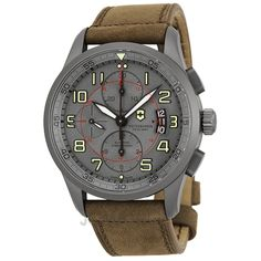 Victorinox Airboss Grey Dial Chronograph Brown Leather Mens Watch 241599