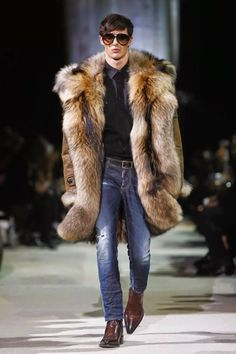 Dsquared2 fall winter 2015 menswear... Leather and fur lined coat. He looks cool as ish!