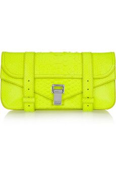 usually not a fan of neon but this brings a new found respect - gorgeous!  Proenza Schouler PS1 Snakeskin Clutch in Neon