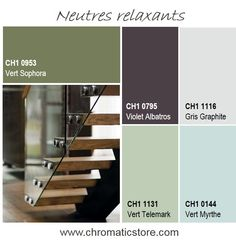 This palette of natural and relaxing, between light and dark, can be used to delimit spaces, in the same room for example. Source by Chromatic_PPG Palette Verte, Color Combos, Color Schemes, Green Corridor, Relaxing Bathroom, Deco Nature, Collor, Color Balance, Living Room Interior