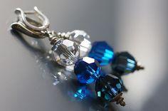 blue shades swarovski crystal earrings