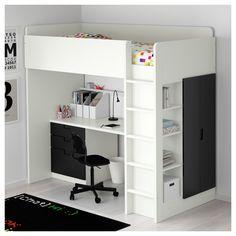 STUVA Loft bed with 3 doors, white, black white/black Twin Ikea Bunk Bed, Bunk Bed With Desk, Bunk Beds With Storage, Kids Bunk Beds, Desk Bed, Baby Storage, Budget Bedroom, Small Room Bedroom, Bedroom Loft