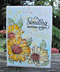 https://flic.kr/p/GTN2V9   Spring Daisies   Using my new Altenew Daisies set with some masking and watercolouring.