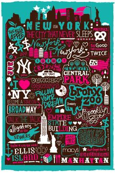 New York Map, Hand Lettering Typography Inspiration Nous York, City Poster, A New York Minute, Empire State Of Mind, Hand Drawn Type, Hand Type, I Love Nyc, Typography Inspiration, Design Inspiration